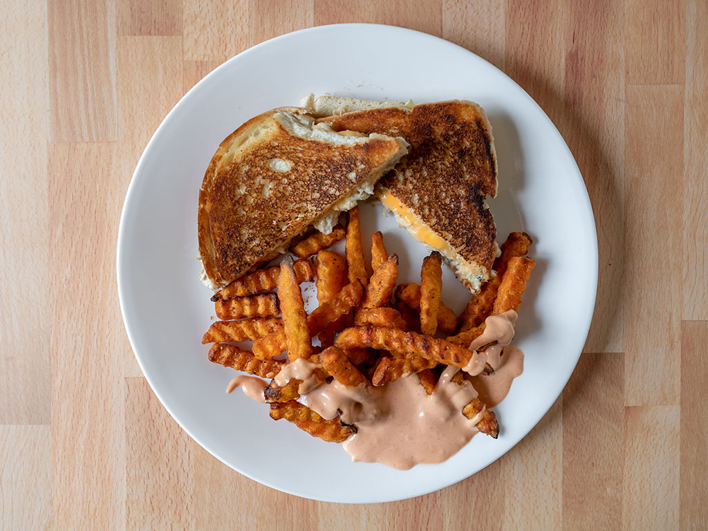 Alexia Crinkle Cut Sweet Potato Fries with grilled tuna