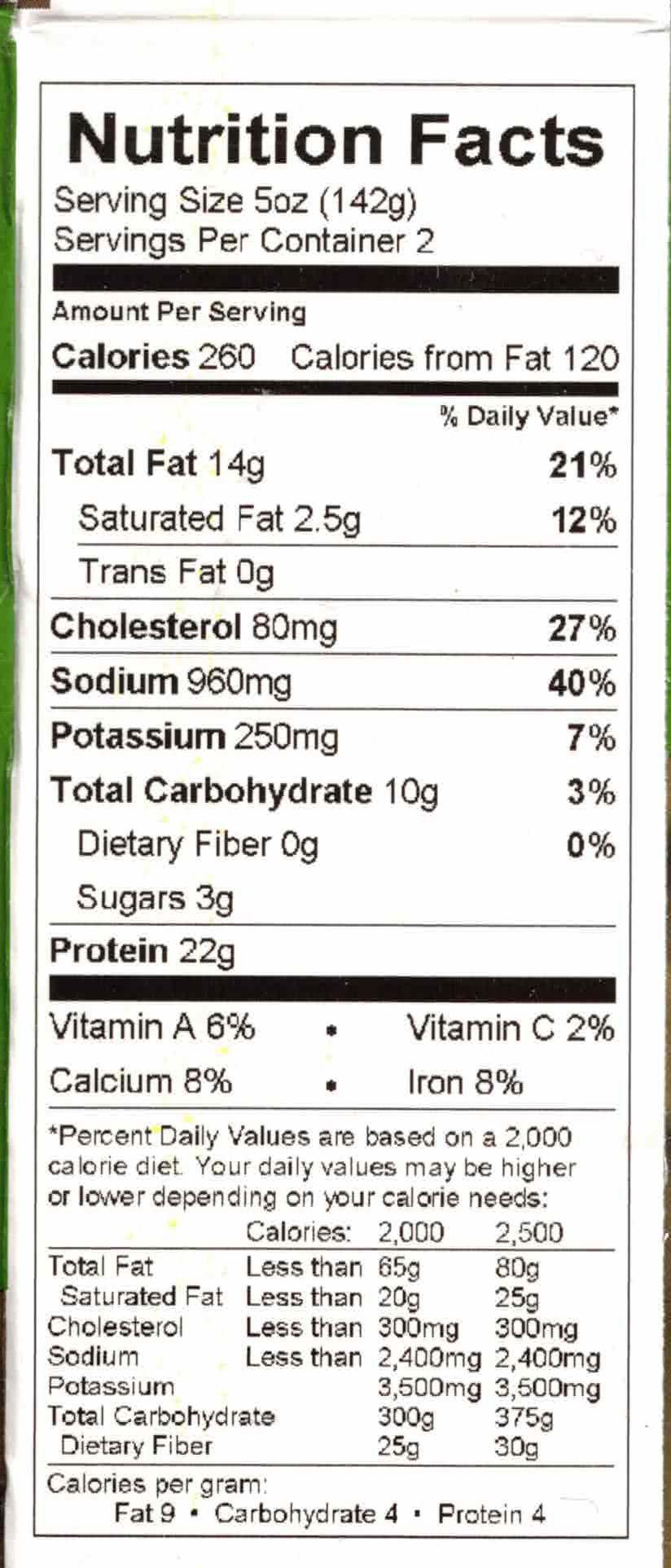 Bombay Kitchen Chicken 65 nutrition