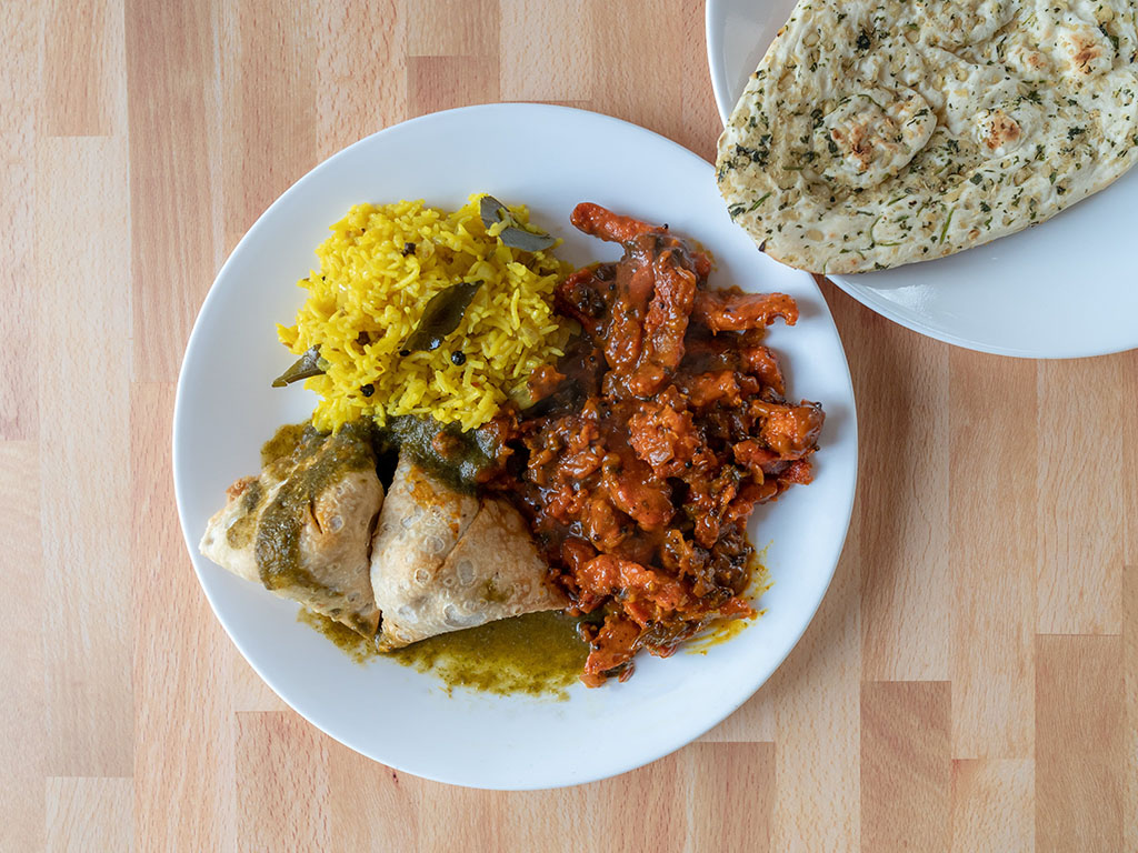 Bombay Kitchen Chicken 65 with Deep samosa and Deep naan