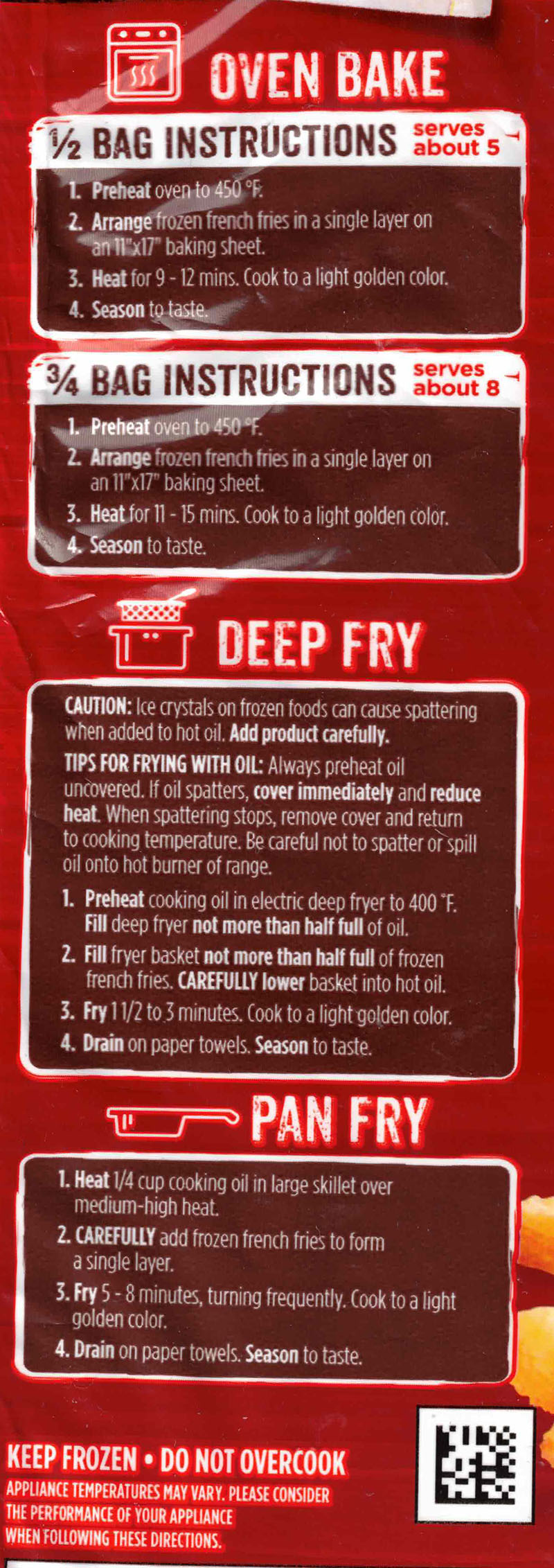 Ore-Ida Extra Crispy Fast Food French Fries cooking instructions