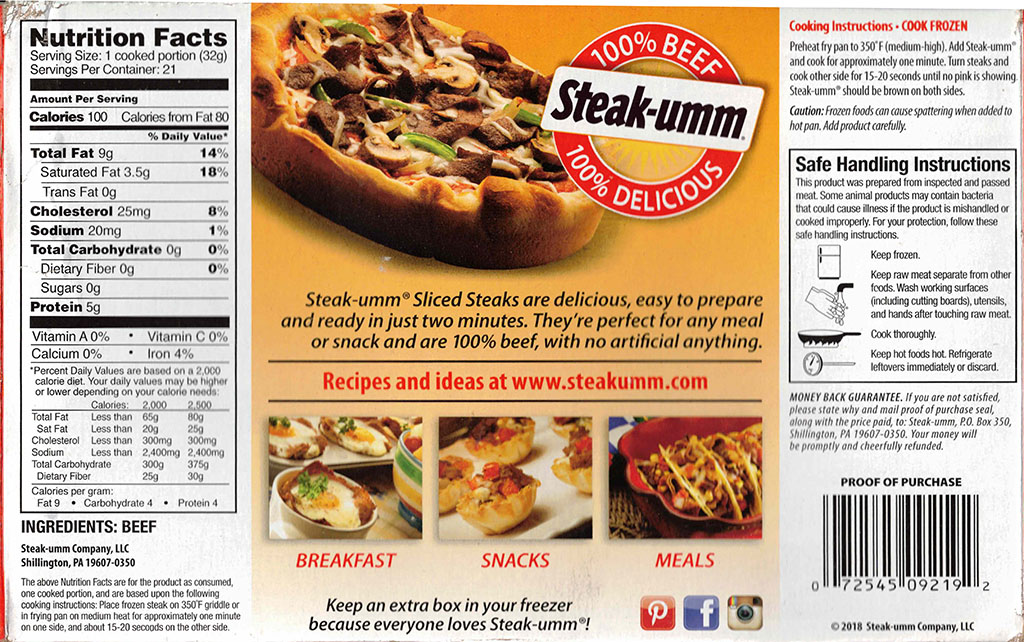 Steak-umm Sliced Steaks nutrition