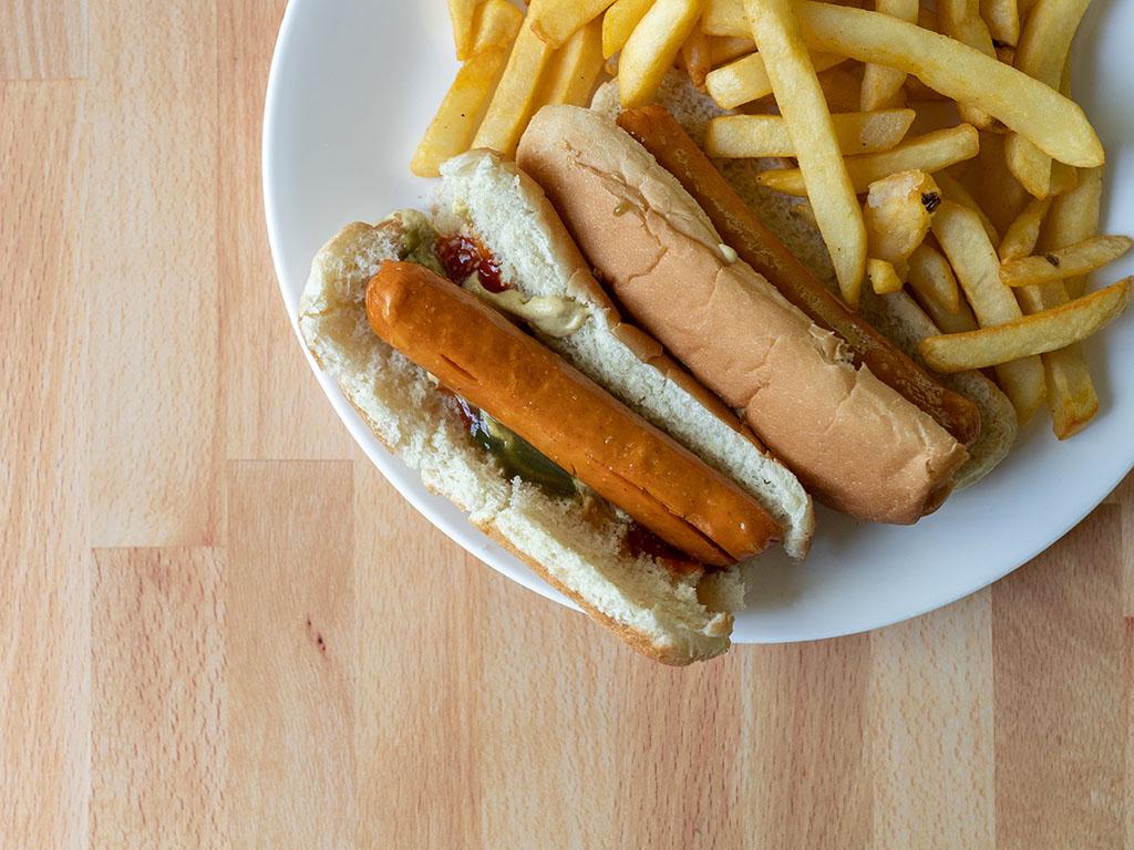 Air fried Lightlife Smart Dogs on bun