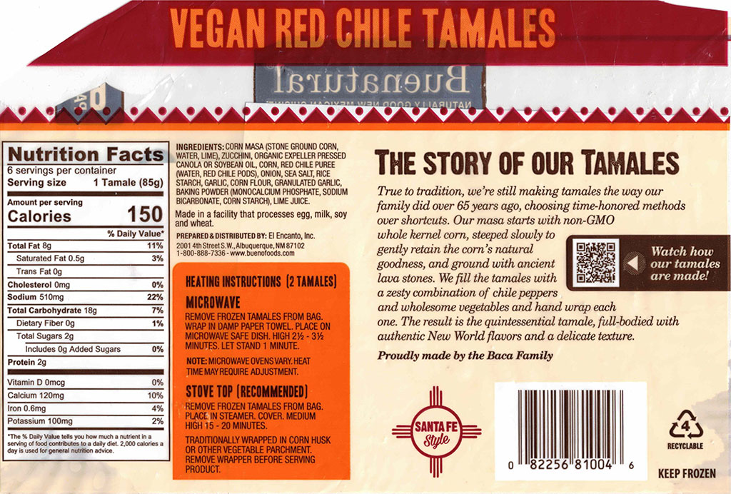Buenatural Vegan Tamales ingredients and nutrition