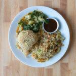 Egg fried rice, vegetable mushu, garlic bok choy