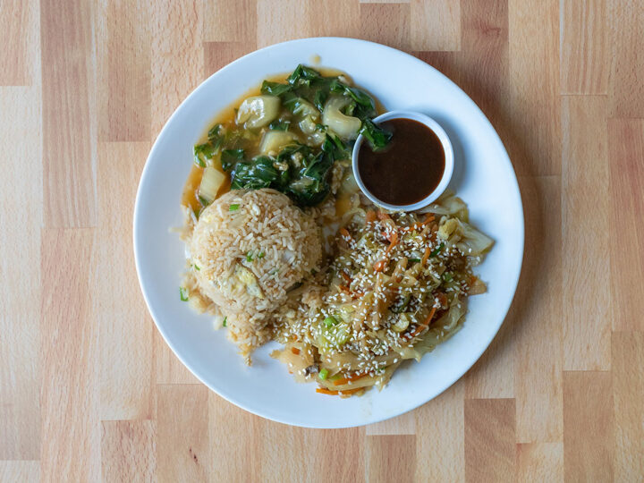 Egg fried rice, vegetable mushu, garlic bok choy