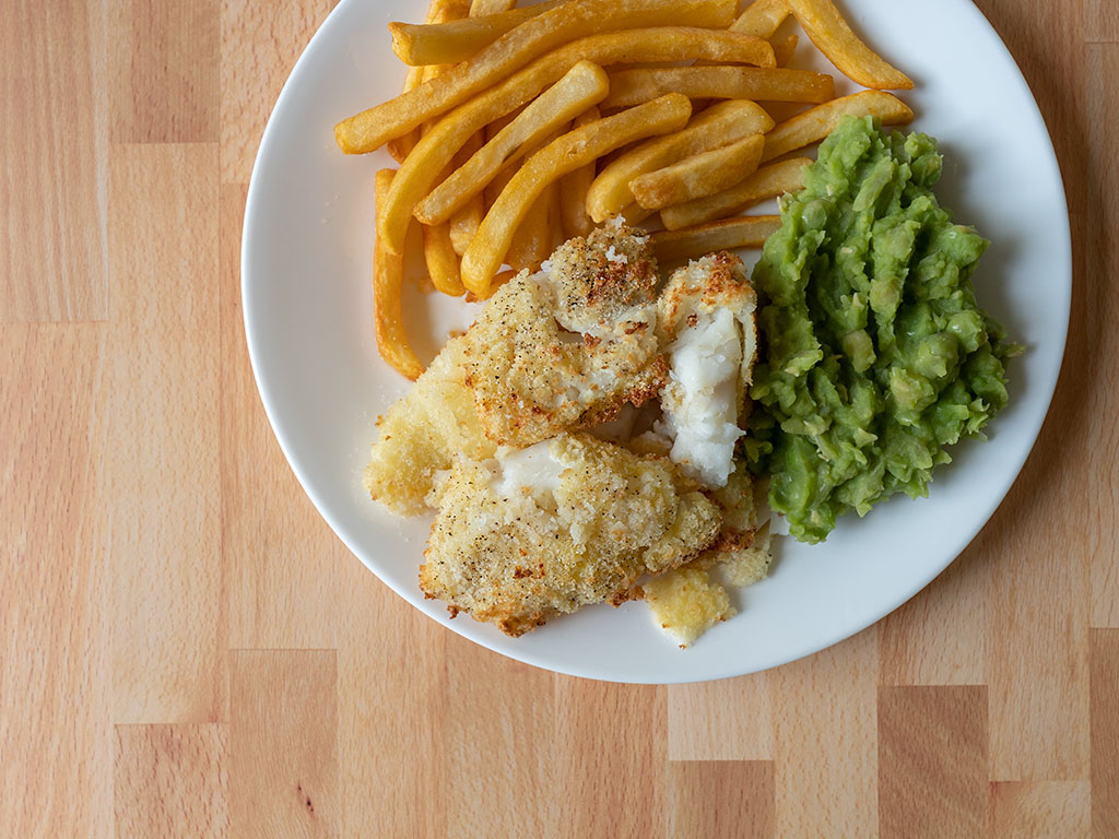 Fish and chips with panko crusted cod