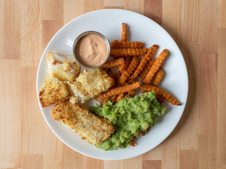 Fish and chips with sweet potato