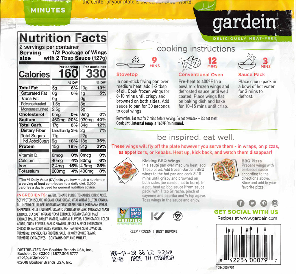 Gardein Sweet And Tangy Barbecue Wings nutrition and ingredients