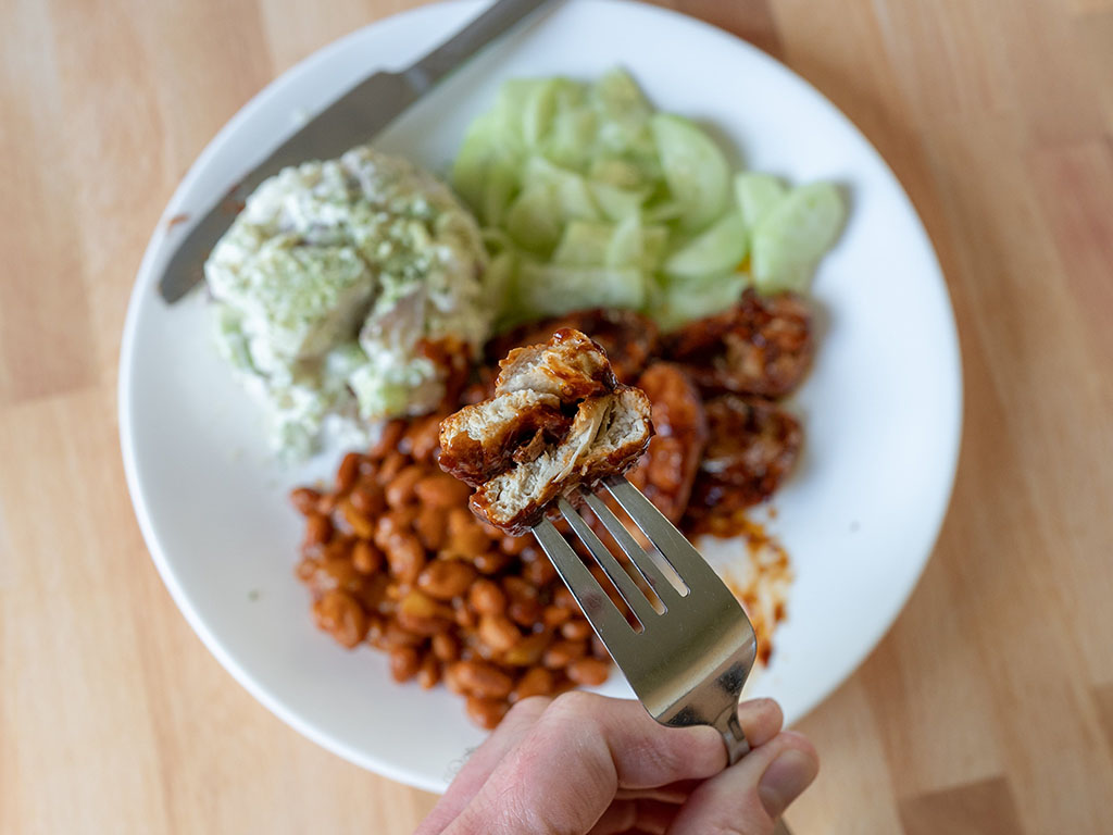Gardein Sweet And Tangy Barbecue Wings pan fried interior