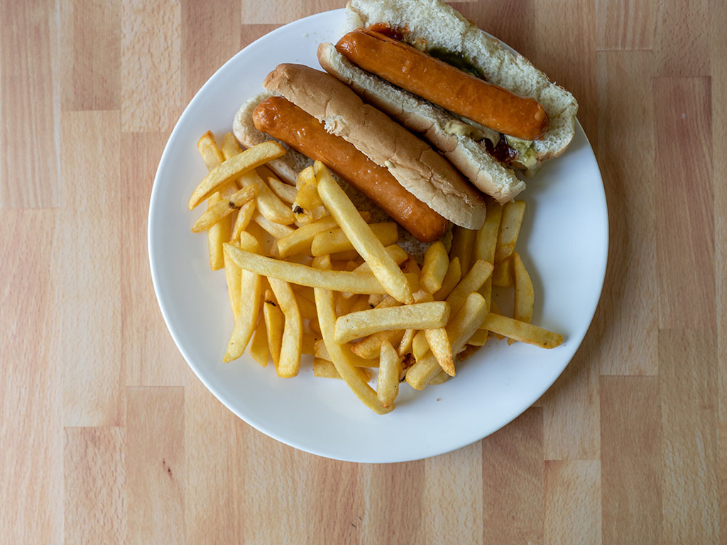 Great Value Regular Cut French Fried Potatoes with LIghtlife Smart Dogs