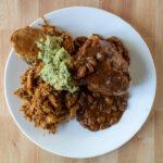 Hasselback potato with chilli and chicken tinga