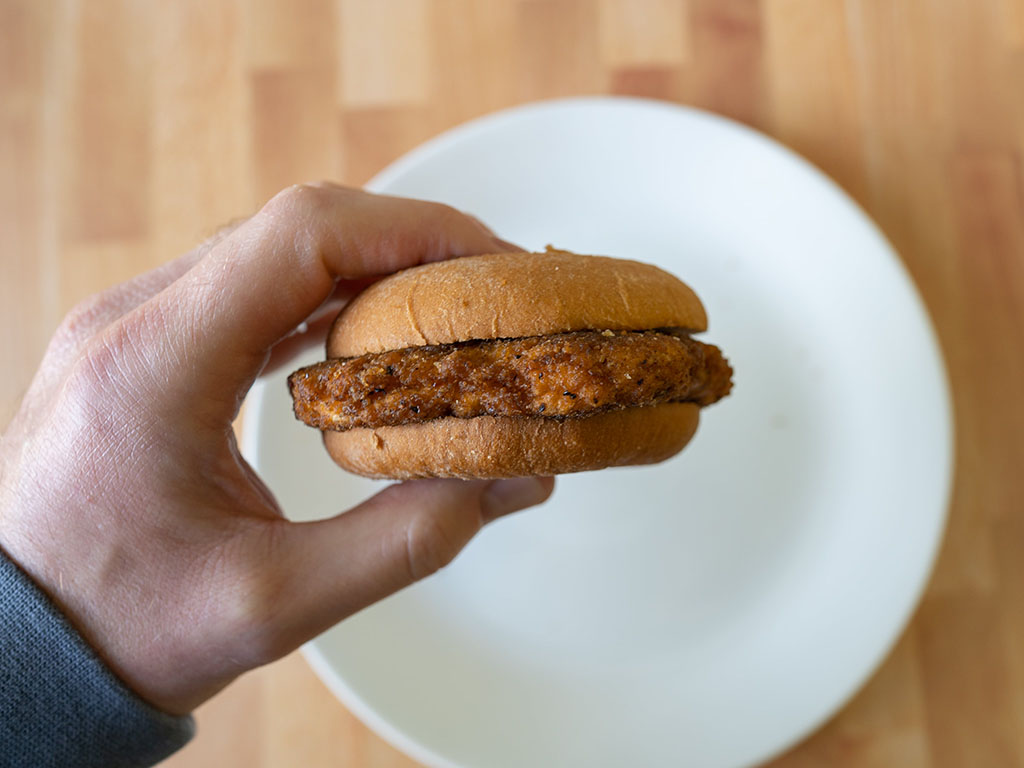 Kroger Microwaveable Chicken Sandwich cooked side view
