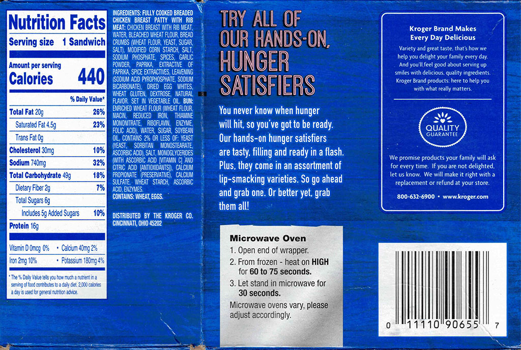 Kroger Microwaveable Chicken Sandwich nutrition, ingredients, cooking