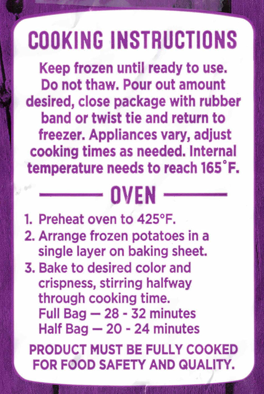 Kroger Tater Bites cooking instructions