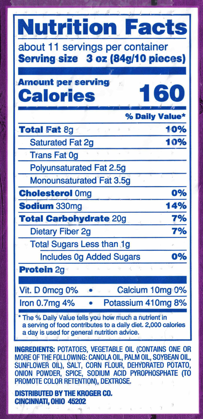 Kroger Tater Bites nutrition and ingredients