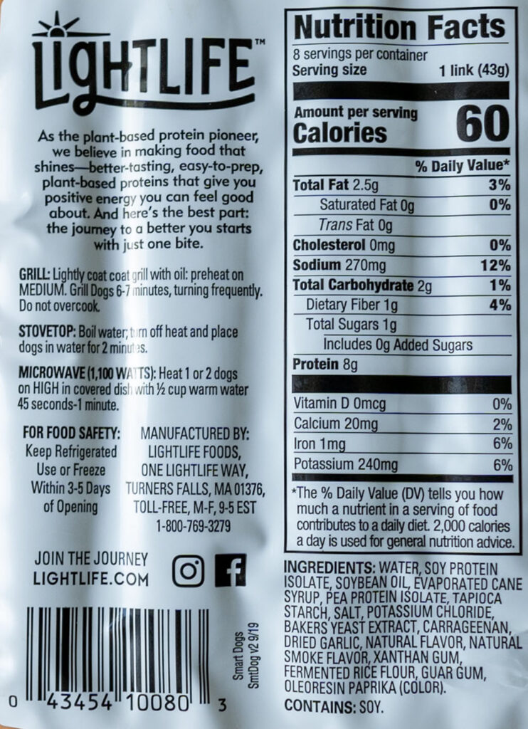 Lightlife Smart Dogs nutrition, ingredients