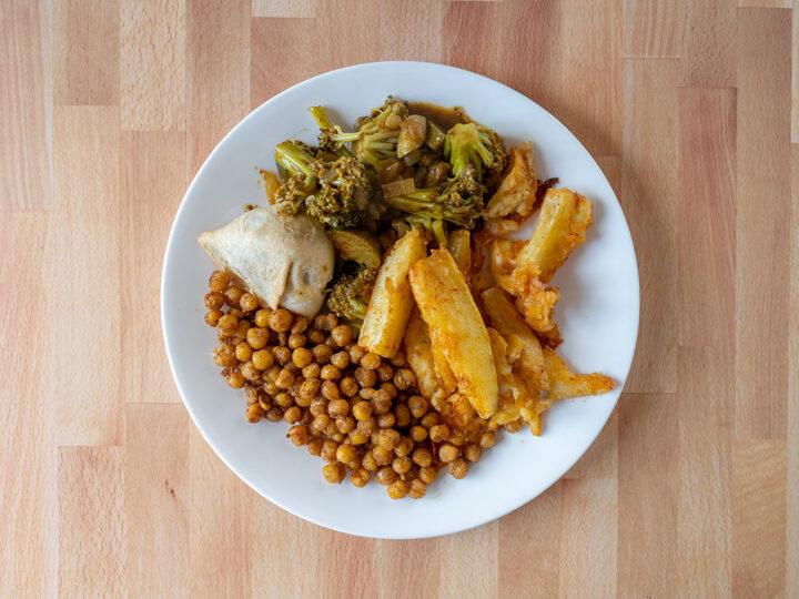 Pan fried chick peas and sweet potatoes