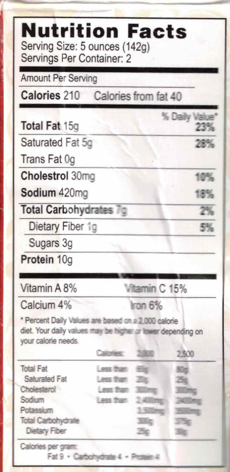 Rajbhog Foods Matter Paneer nutrition