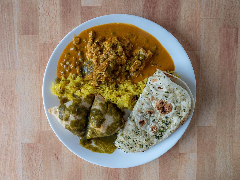 Rajbhog Foods Matter Paneer with naan rice and samosa