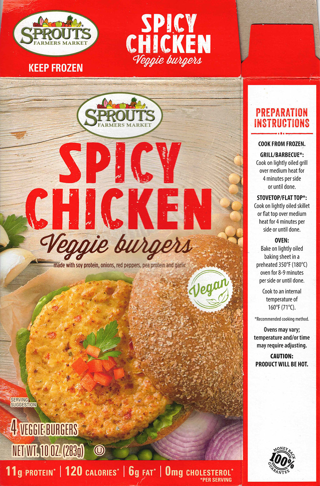 Sprouts Spicy Chicken Veggie Burgers cooking instructions