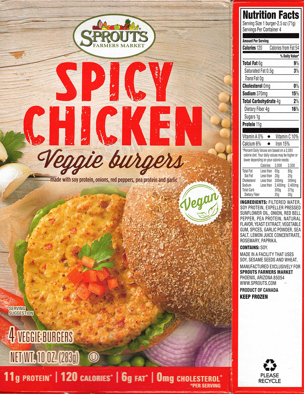 Sprouts Spicy Chicken Veggie Burgers nutrition and ingredients