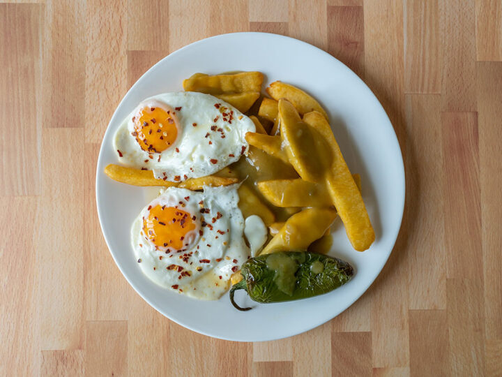 Three chile eggs and steak fries