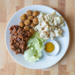 Vegan BBQ Plate with-MorningStar Popcorn Chikn