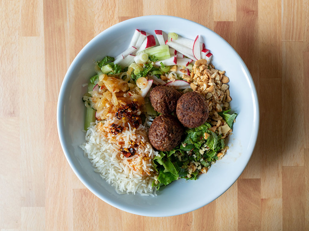 Vietnamese salad with Impossible meatballs