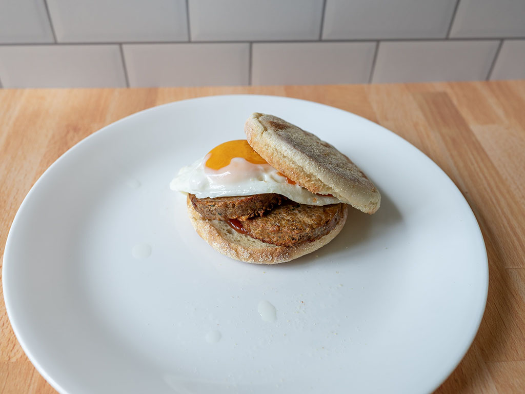 Beyond Breakfast Sausage cooked with an egg