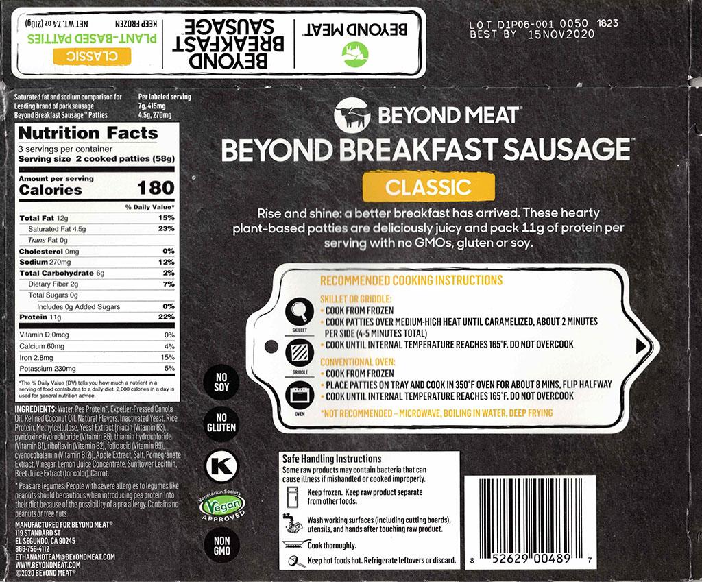 Beyond Breakfast Sausage ingredients and nutrition