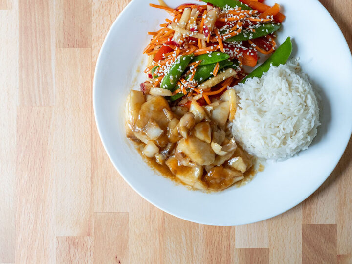 Black cod with miso and honey with Asian salad and rice