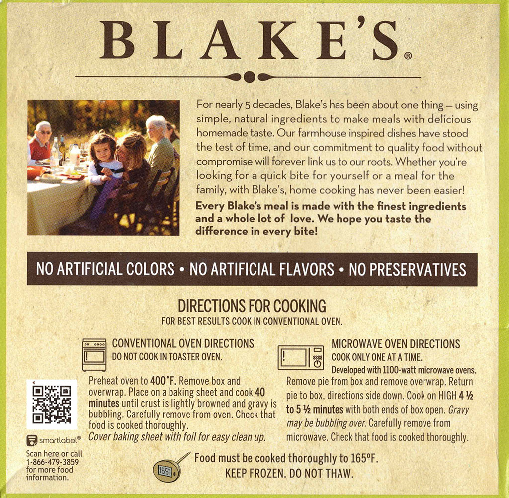 Blake's Chicken Pot Pie cooking instructions