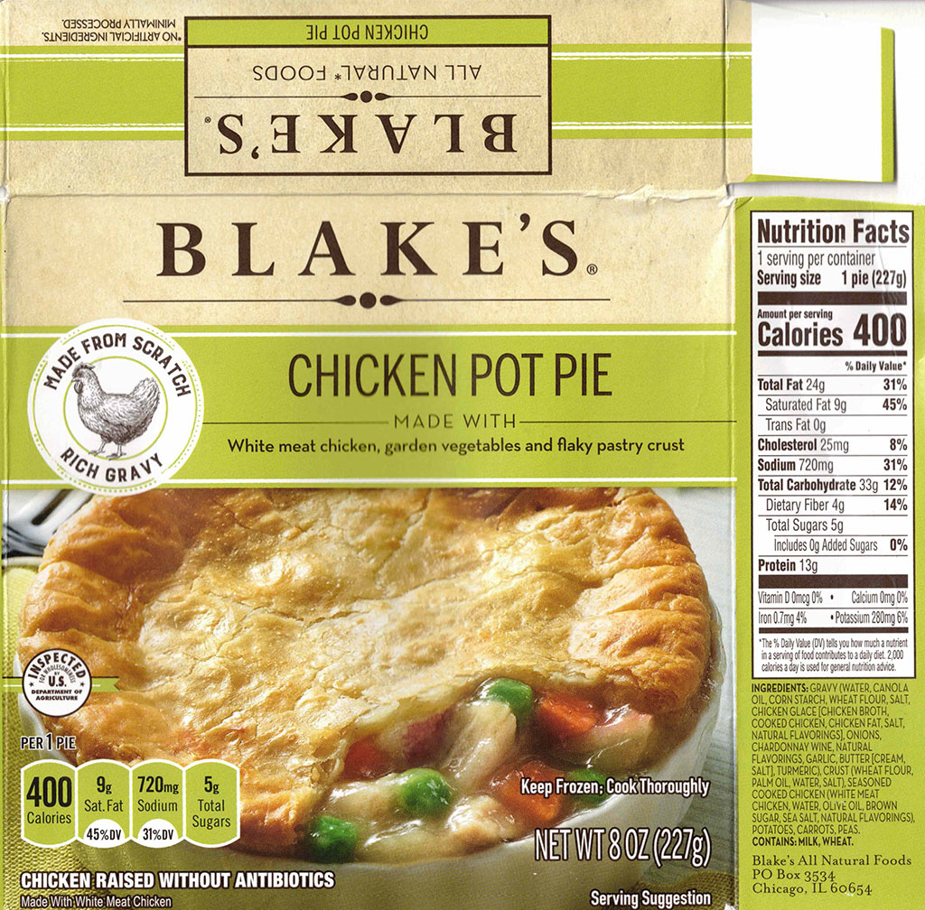 Blake's Chicken Pot Pie nutrition and ingredients