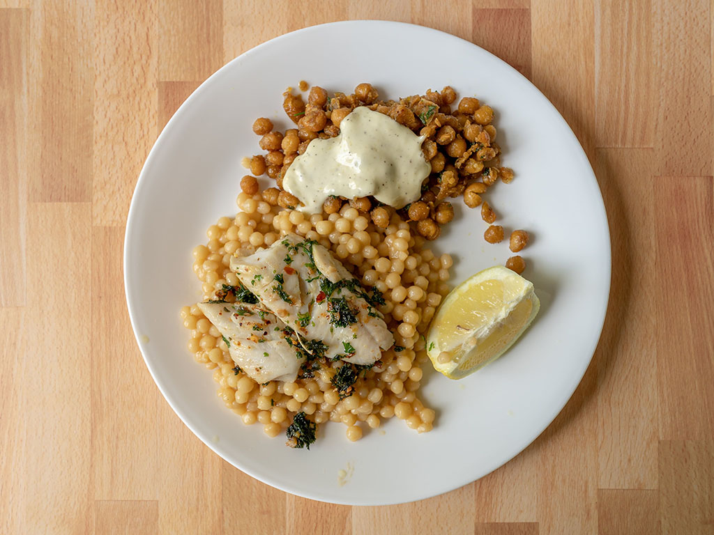 Sable fish with cous cous and chickpeas