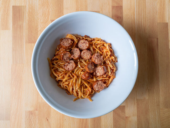 Sam's Choice Cajun Style Andouille Smoked Sausage in linguine