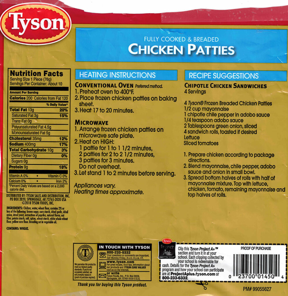 Tyson Frozen Chicken Patties nutriotion, ingredients, cooking
