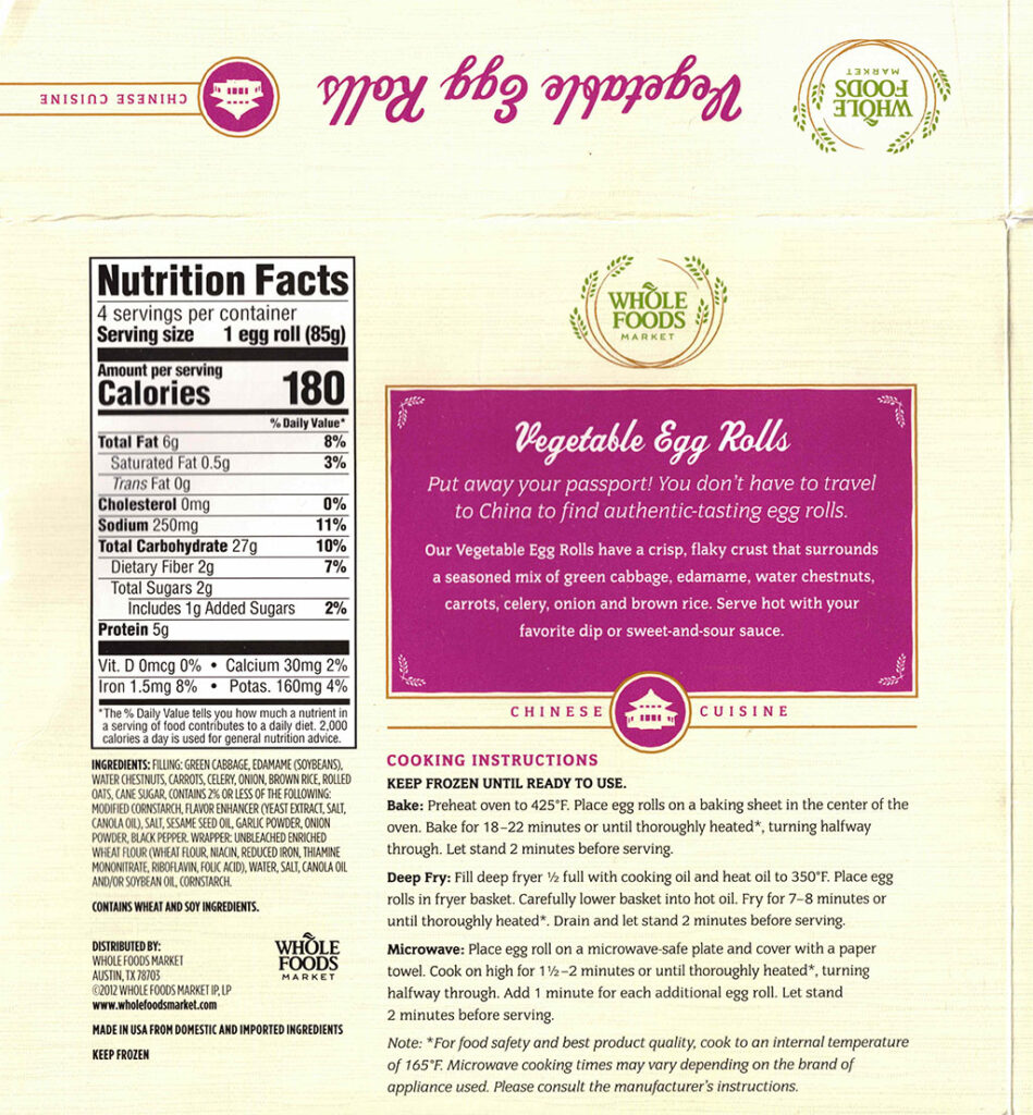 Whole Foods Vegetable Egg Rolls nutrition and cooking