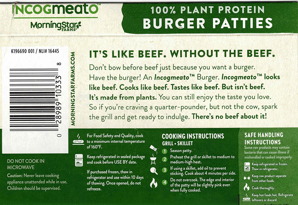 MorningStar Farms Incogmeato Burger cooking instructions