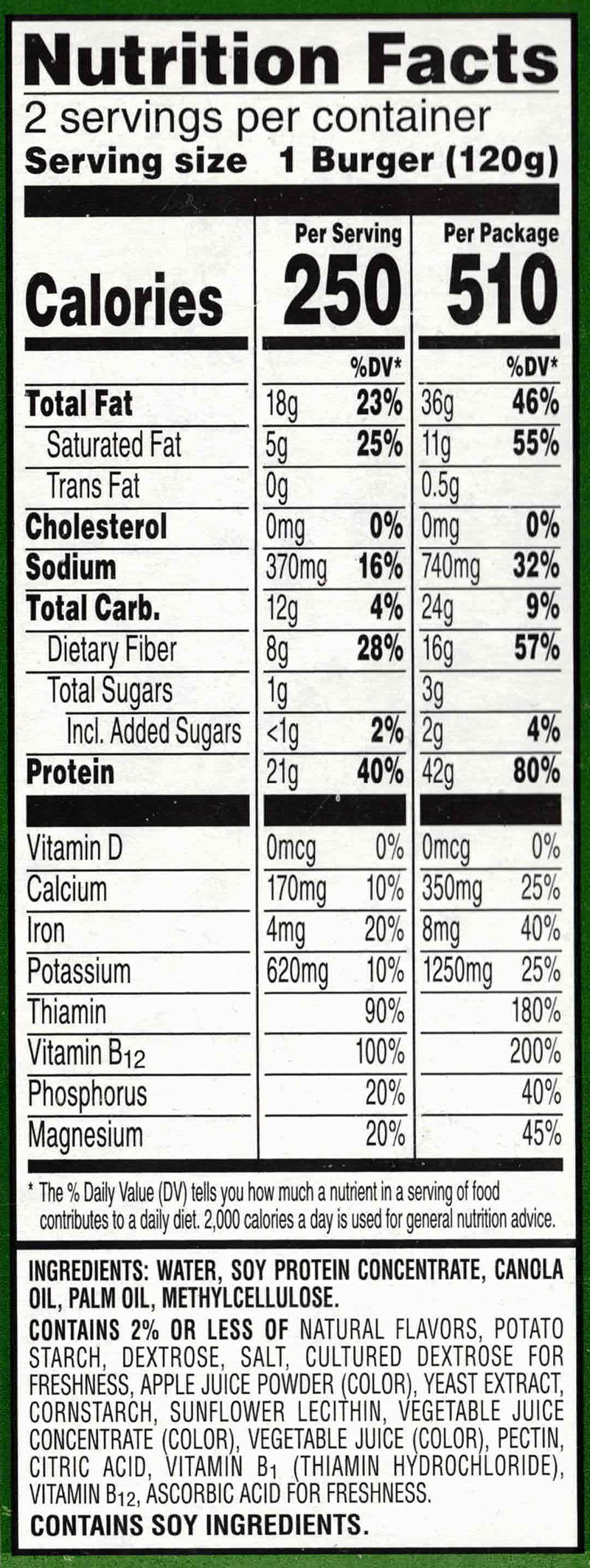 MorningStar Farms Incogmeato Burger nutrition and ingredients