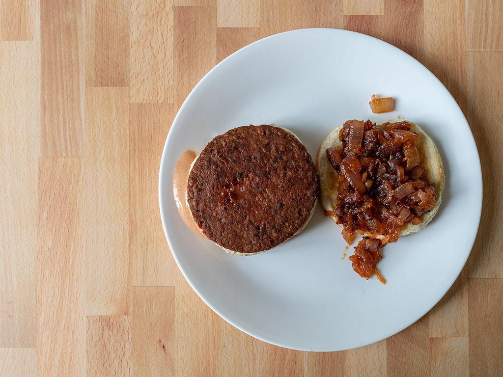 MorningStar Farms Incogmeato Burger onion burger top down