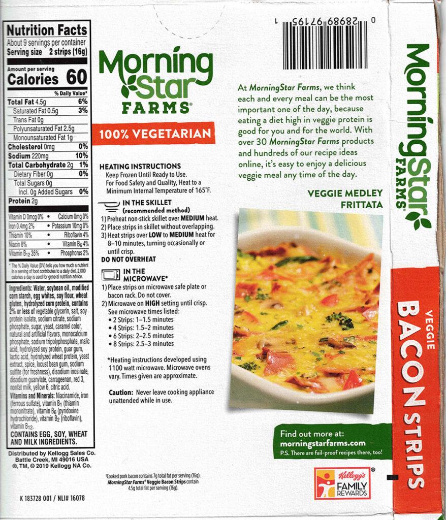 MorningStar Farms Veggie Bacon Strips nutrition, cooking