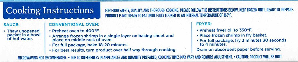 SeaPak Tempura Shrimp cooking instructions