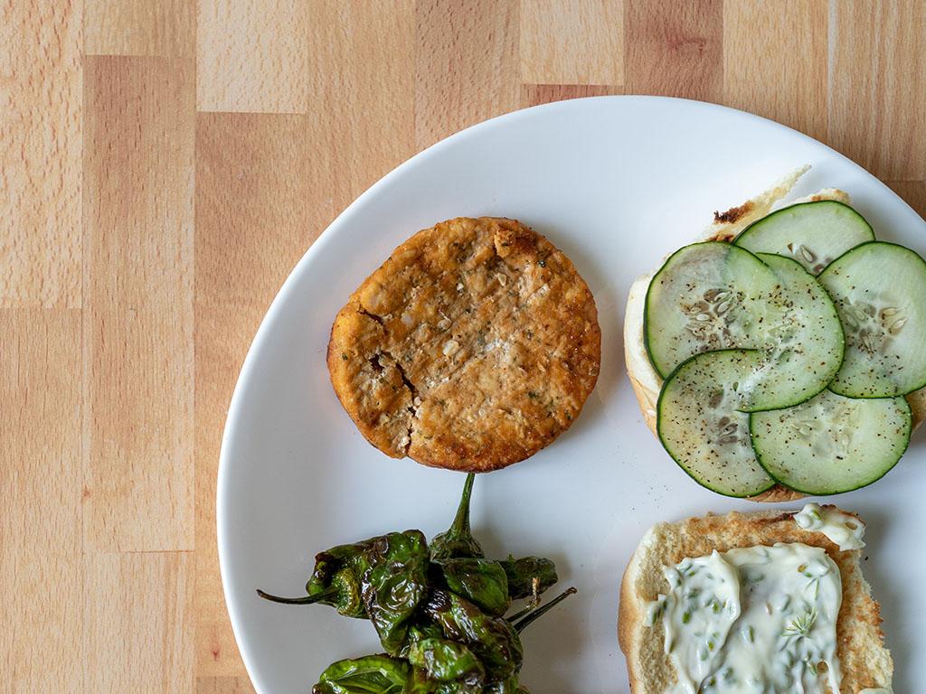 Air fried Kroger Salmon Burger close up