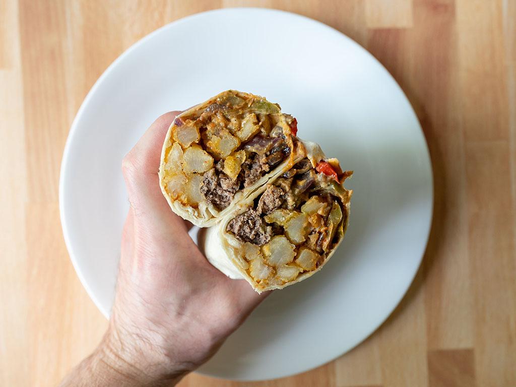 Burger and fries burrito close up