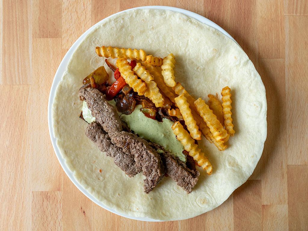 Burger and fries burrito ingredients