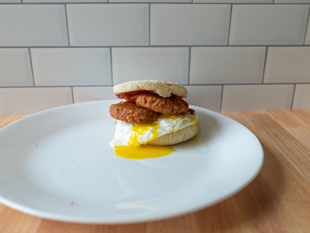Double air fried Pure Farmland Maple Breakfast Sausage with egg