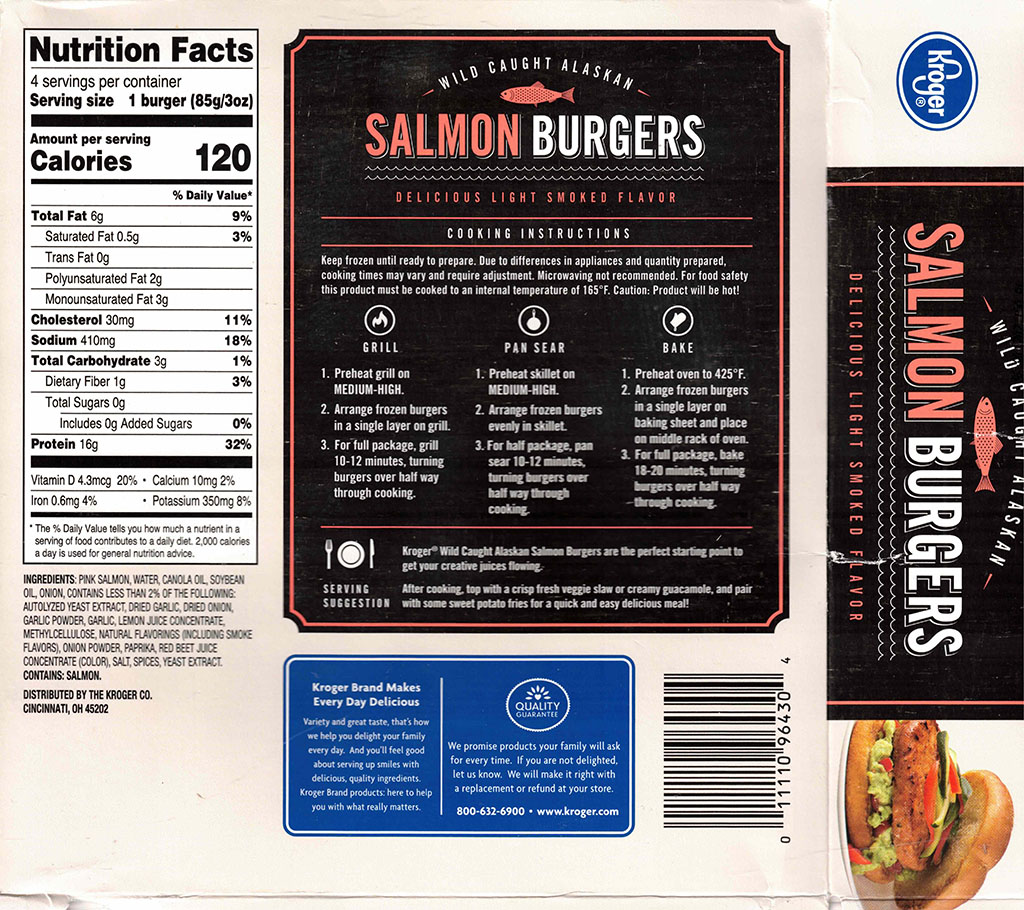 Kroger Salmon Burgers nutrfition and cooking