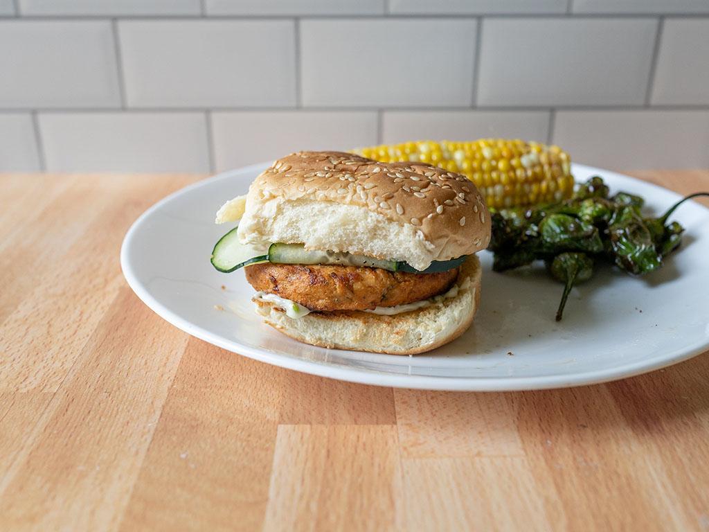Kroger Salmon Burgers on bun