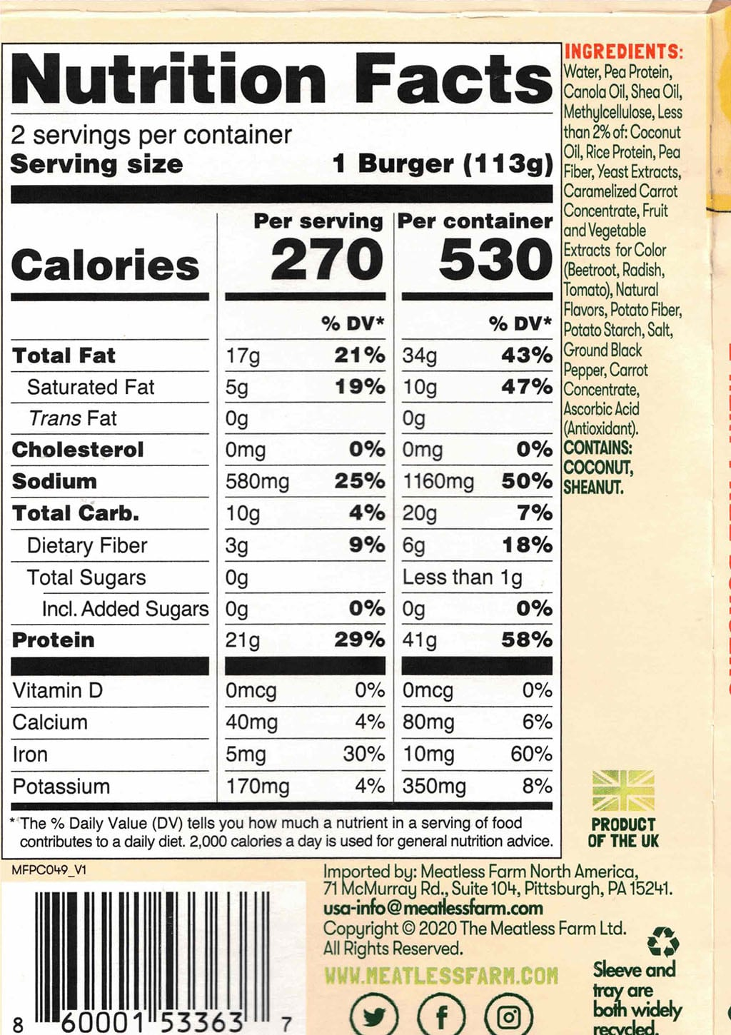 The Meatless Farm Co Burgers nutrition