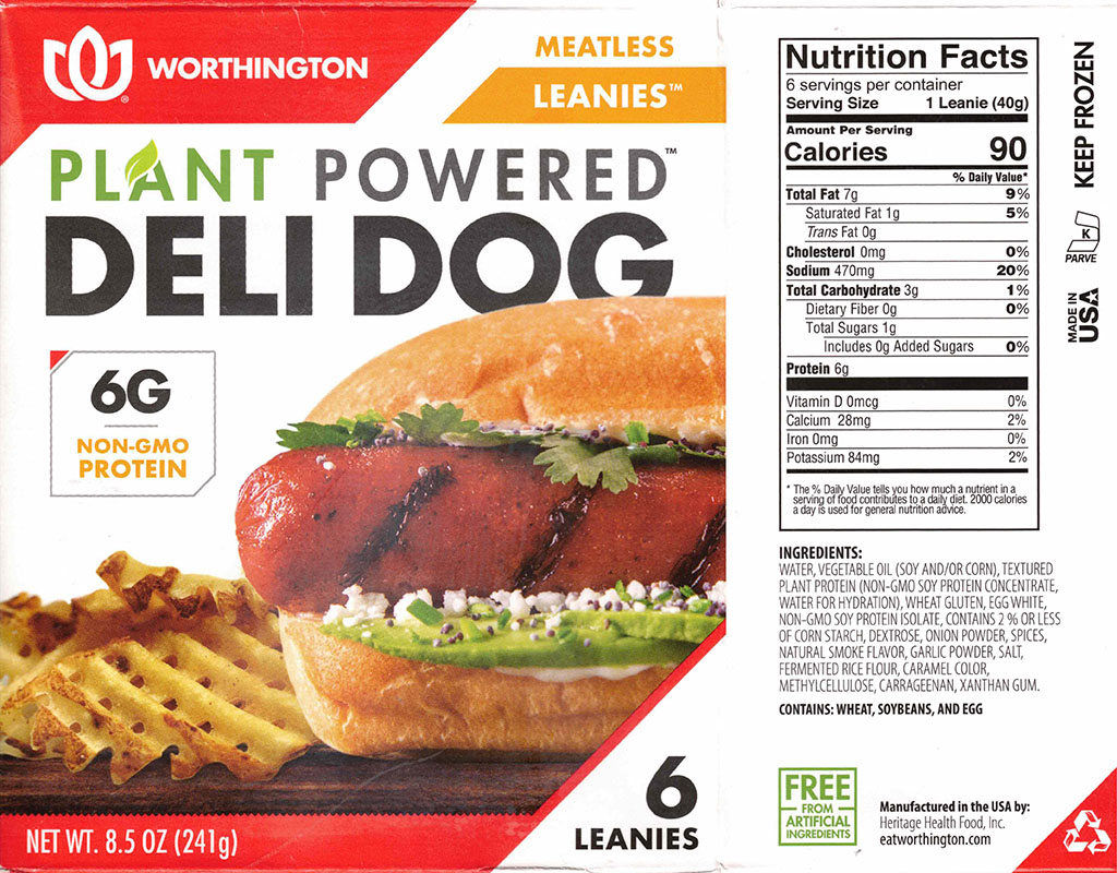 Worthington Meatless Leanies Deli Dog nutrition and ingredients